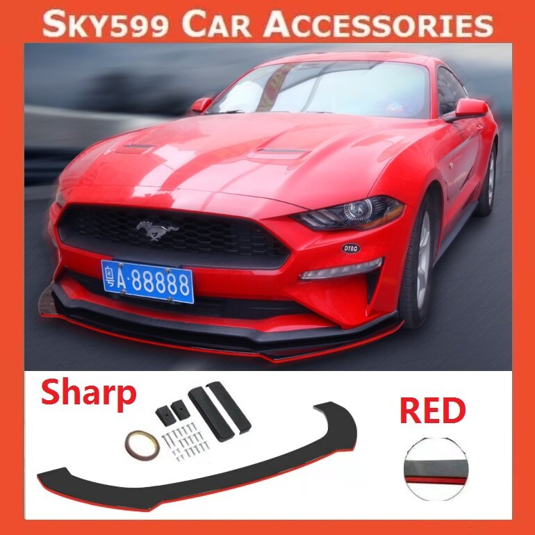 Car Universal Sharp Front Bumper Diffuser Lip Wrap Angle 【RED COLOR】