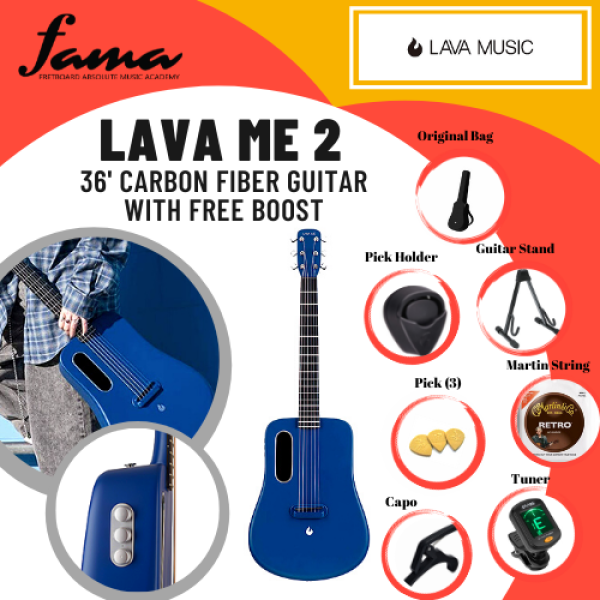 [FAMA] LAVA ME 2 36 Inch Carbon Fiber Light Acoustic Guitar with FREEBOOST PICKUP Blue Malaysia