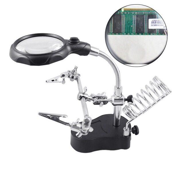 Chân đế hàn sắt có thể điều chỉnh giúp đỡ tay kính lúp LED Clip cá sấu kép và xoay 360 độ