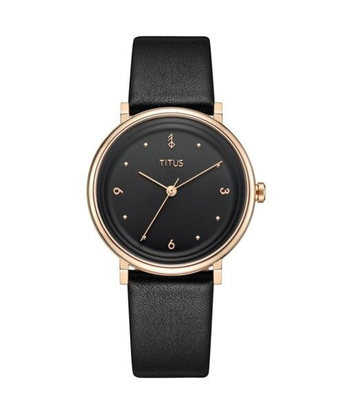 Solvil et Titus W06-03144-006 Womens Quartz Analogue Watch in Black Dial and Leather Strap Malaysia