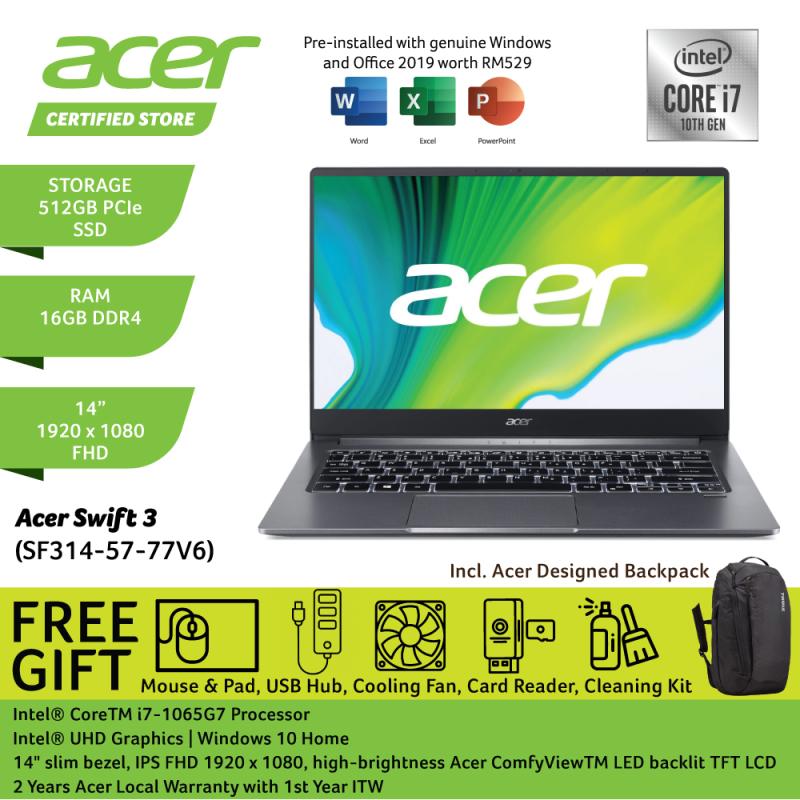 Acer Swift 3 SF314-57-77V6 14 FHD Laptop Steel Grey ( i7-1065G7, 16GB, 512GB SSD, Intel, W10, HS ) Malaysia