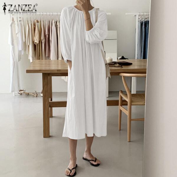 ZANZEA Đầm Sơ Mi Nữ Dài Tay Cổ Tròn Dáng Rộng Thường Ngày Bằng Cotton Kaftan Ngoại Cỡ