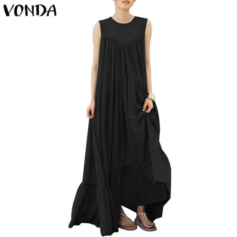 698c381a524b Specifications of VONDA Womens Solid Loose Plus Size Kaftan Sleeveless Crew  Neck Long Maxi Dress Casual