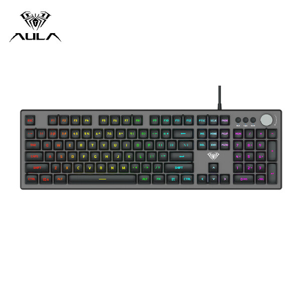 AULA F2028 Mechanical Gaming Keyboard USB Wired RGB Backlight Floating Keycap Keyboard 26 keys Professional Gaming Office Keyboard Singapore