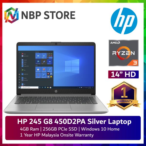 HP 245 G8 450D2PA 14 Laptop Asteroid silver ( Ryzen 3 3300U, 4GB, 256GB SSD, ATI, W10 ) Malaysia