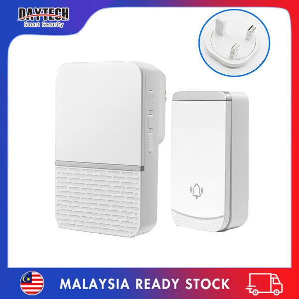 [Malaysia Ready Stock]Daytech Wireless Door Bell Loceng Rumah Doorbell 45 Ringtones IP44 Waterproof 1 Receiver +1 Button UK Plug for House/Home/Office/Elderly/Patient DB23