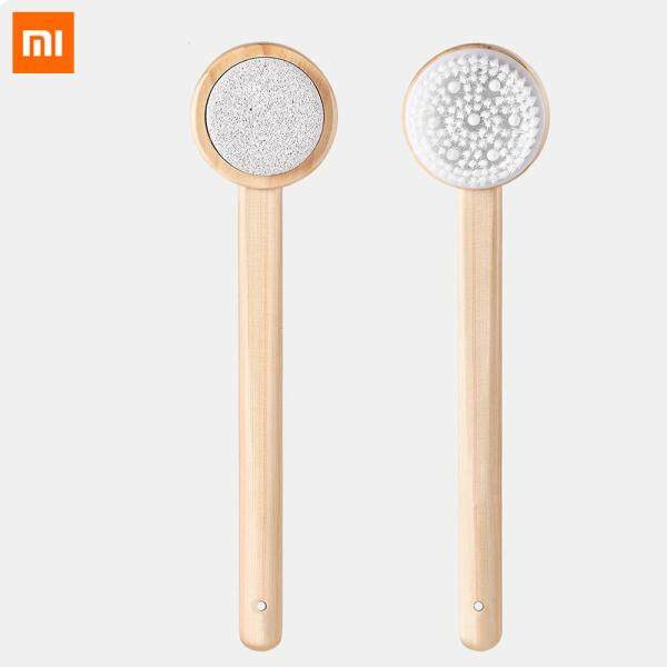 Buy Original Xiaomi mijia Body Brush Bath Brush Double-side 2in1 Silicone Massage Long Wooden Skin Brush Bathroom Accessories Back Exfoliation Foot Clean Spa Lanyard Shower H3 Singapore