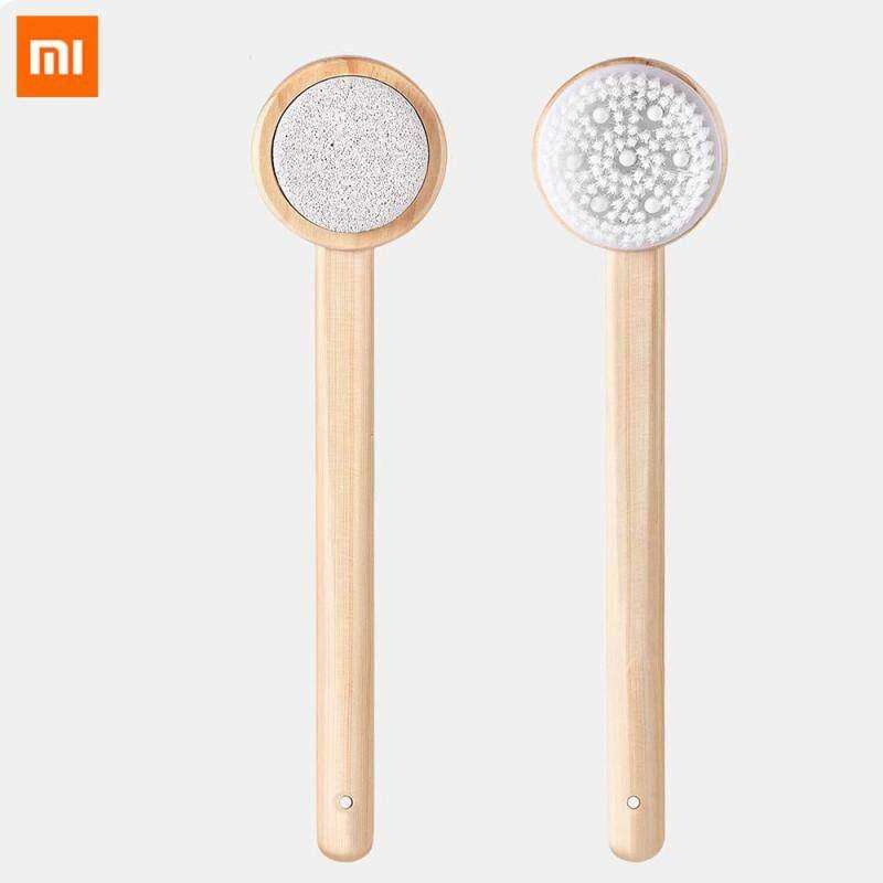 Buy Original Xiaomi mijia Body Brush Bath Brush Double-side 2in1 Silicone Massage Long Wooden Skin Brush Bathroom Accessories Back Exfoliation Foot Clean Spa Lanyard Shower H3 Singapore