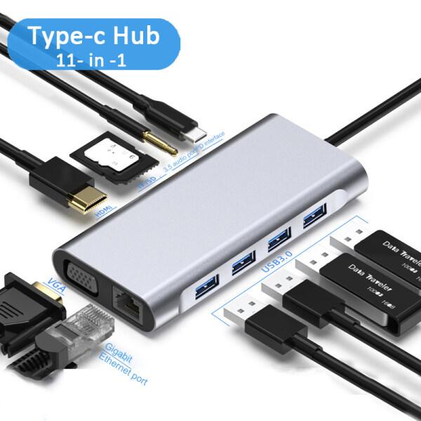 Bảng giá EEmax 【Giao Hàng Nhanh】 Bộ Chuyển Đổi Hub Usb Type C 11 Trong 1 Đế Cắm Máy Tính Xách Tay, HDMI VGA RJ45 PD Cho Macbook HP Lenovo Surface Tương Thích Thunderbolt 3 Phong Vũ