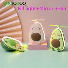 GOOJODOQ 2020 New Avocado Nhỏ USB Sạc Đèn Xách Tay Đáng Yêu Ánh Sáng Ban Đêm Trang Điểm Gương Mini Fan Đèn Ánh Sáng Đầy Đủ Dễ Thương