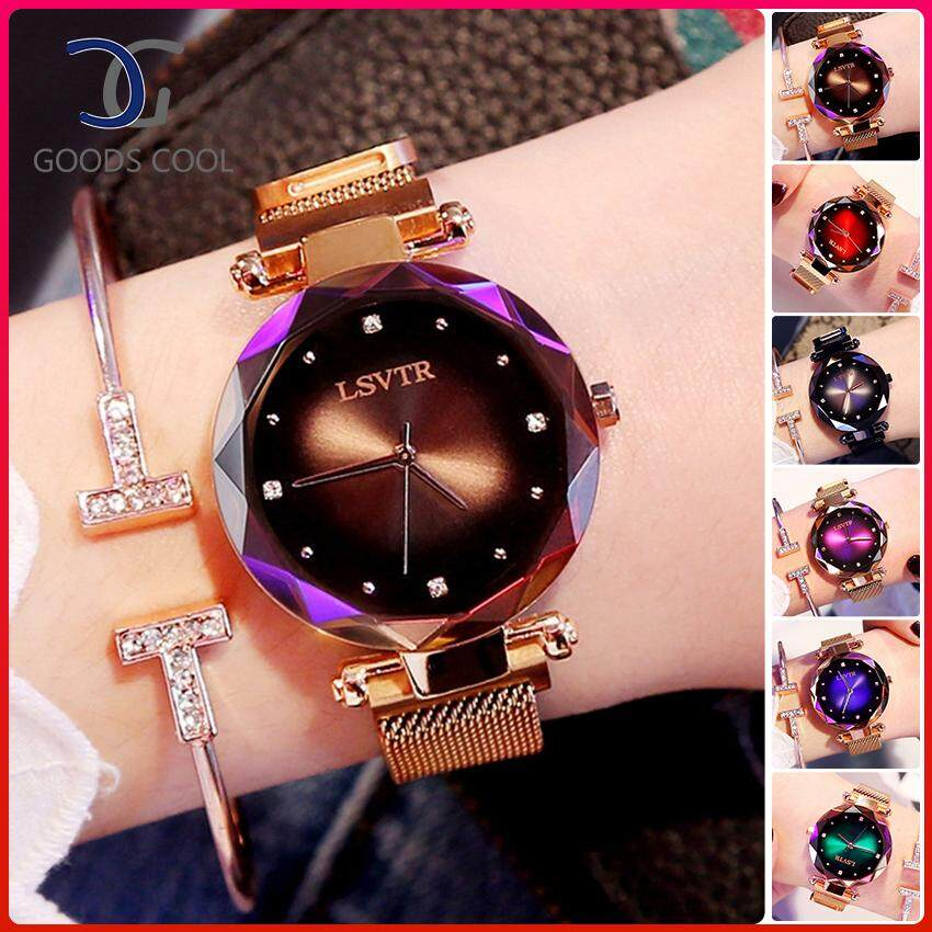 GoodScool Fashion Starry Shiny Women Wrist Watch Stainless Steel Quartz Watch with Magnet Milan Mesh Belt&Magnet Strap Buckle Malaysia