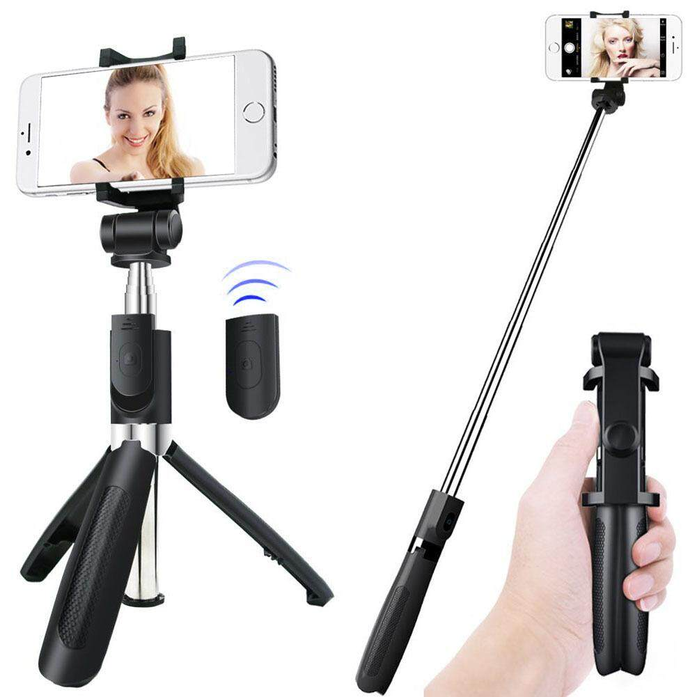 Aluminum Bluetooth Selfie Stick Tripod with Wireless Remote Shutter Phone Holder for iPhone X 8 Galaxy S8