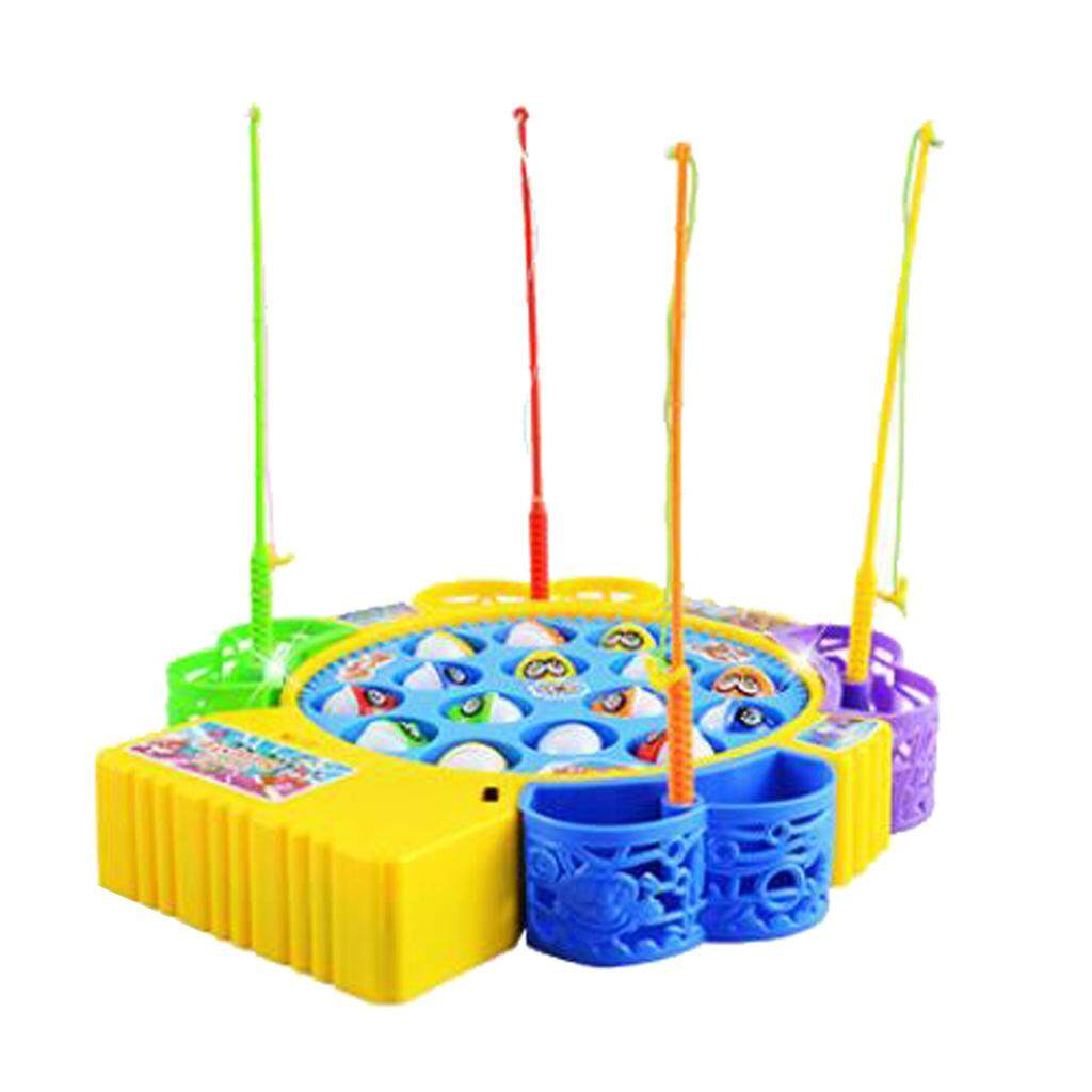 Perfk Magnetic Fishing Toy Musical Rotate Board Fishing Game for 4 Kids