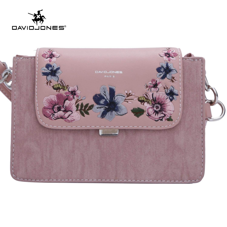 David Jones Paris women crossbody bag pu leather female shoulder bag small floral lady saddle bag