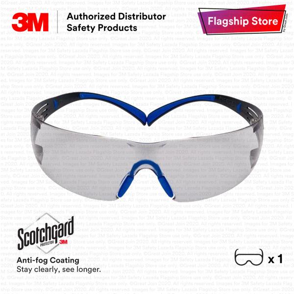 3M SF407SGAF-BLU SecureFit Premium Safety Glasses with Indoor Outdoor Scotchgard™ Anti-fog Grey Lens / Lightest Safety Eyewear/ Scotchgard Anti-fog Anti-Scratch Coating Protective Eyewear [ Indoor Outdoor Grey Lens/ Blue & Grey Temple]/ EYE_ PSD_