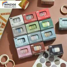 Winzige Bộ 5 Cuộn Băng Dính Mặt Nạ Băng Washi Họa Tiết Cơ Bản Nhật Ký Sổ Lưu Niệm Tự Làm