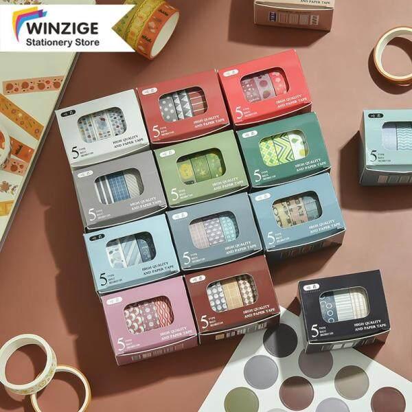 Winzige Set 5 cuộn băng keo washi in họa tiết giản dị thích hợp thiết kế sổ tay DIY - INTL