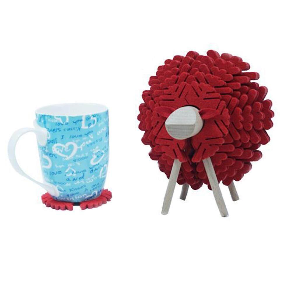 Felt Coaster Cups Mugs Mats Non-slip Cute Elk Cups Holder Ornament for Home Office