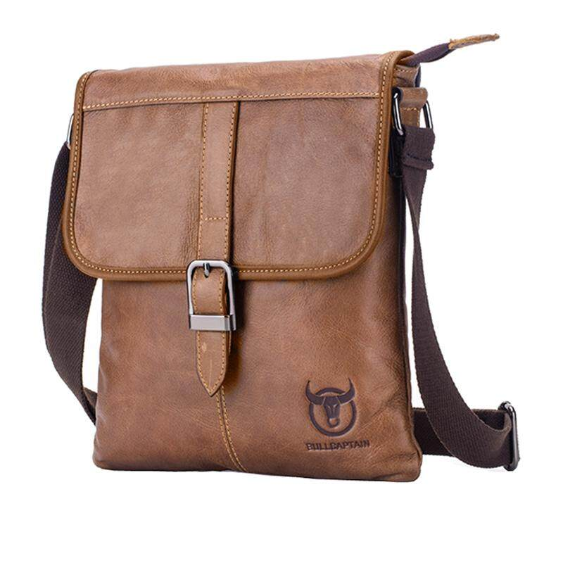 BULLCAPTAIN Men's Bag Genuine Leather Man Bag New Shoulder Bag Crossbody Small Men's Bags Men's Business Bag Messenger Bag Leather Handbags(brown)