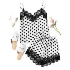 Thời trang Bé Gái Dễ Thương Ren Thêu Lụa Chấm Bi Quần Lót Và Quần Short Pyjama Set