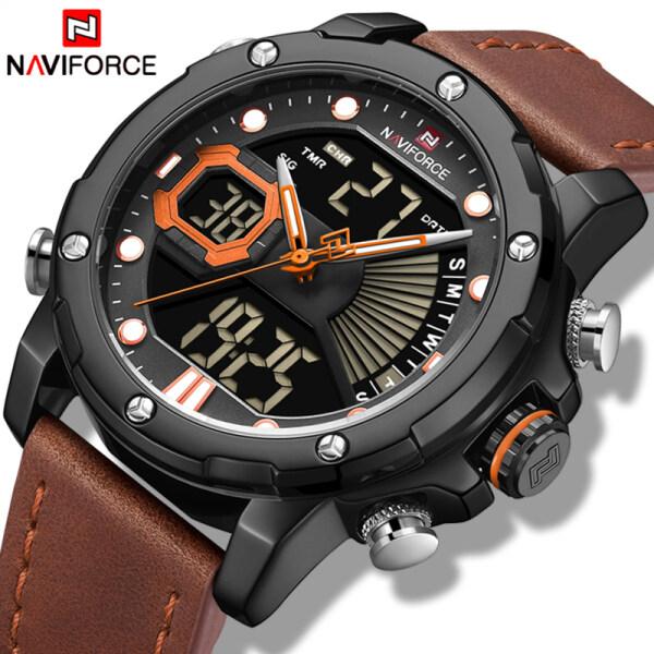 NAVIFORCE Top Luxury Mens Sport Watches Fashion Leather Strap Digital Quartz Clock Casual Men Waterproof Chronograph Watch Malaysia