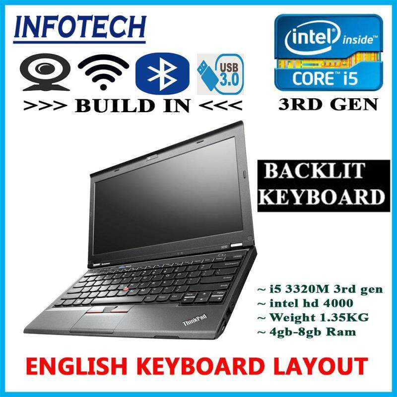 ( Backlit English Keyboard ) Lenovo Thinkpad X230 intel core i5 3rd gen , 4gb or 8gb ram , 240GB SSD or 320GB HDD , Build in wifi , bluetooth , webcam ,  LAPTOP NOTEBOOK NETBOOK THINKPAD ( Refurbished ) Malaysia