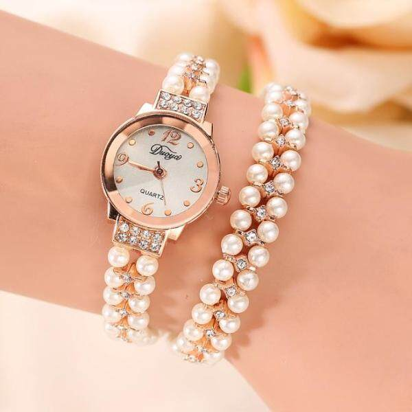 ChuanShan Store Quartz Watch Women Gold Pearl Jewelry Steel Bracelet Wristwatch Crystal Casual Malaysia