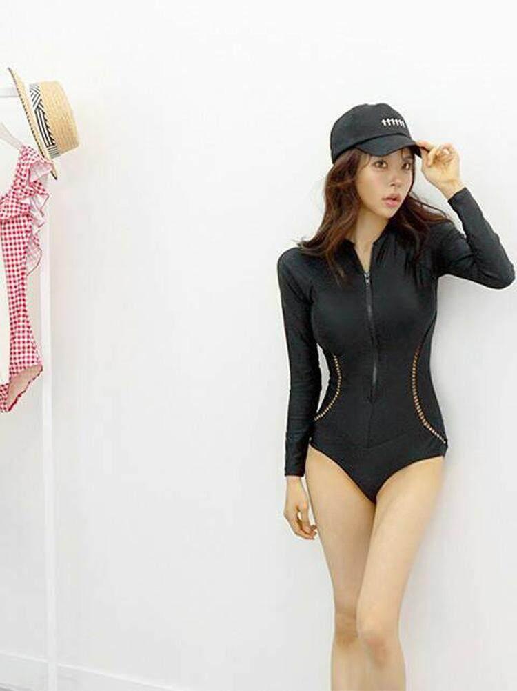 98314df123fc9 Swimsuit One Piece Sexy Floral Long Sleeve Rashguard Front Zipper Swimwear  | Lazada PH