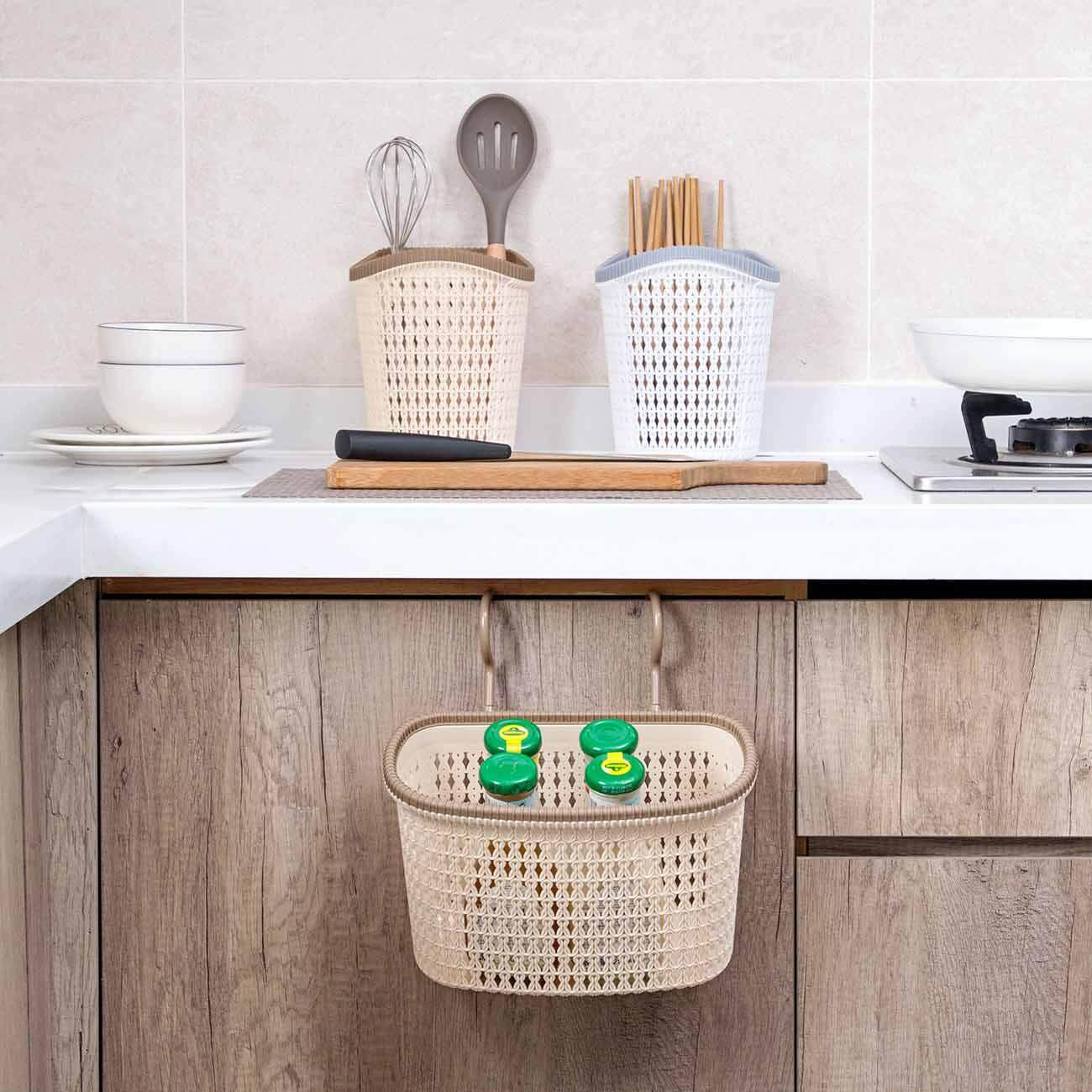 Mitation Rattan Storage Basket Punch-Free Bathroom Hanging Basket Bathroom Wall Hanging Rack