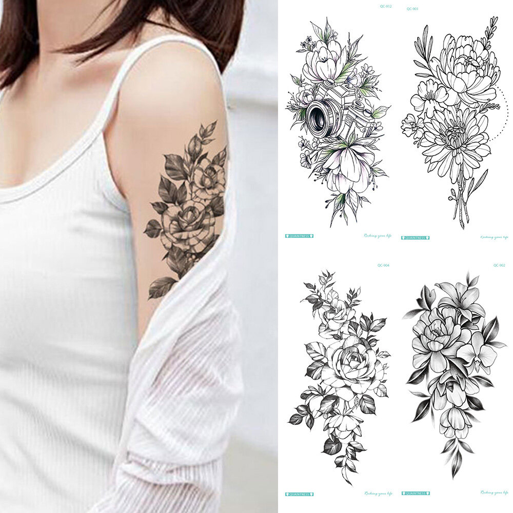 Waterproof Fashion Unisex Rose Fake Black Arm Girls Leg Temporary Tattoo Body Art Tattoo Sticker Flower Lazada