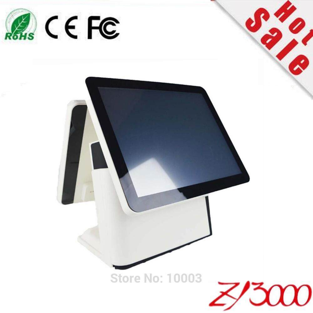 new stock I3 4010 DDR8G 128G SSD 15 inch capacitive touch Screen double screen all in one POS Terminal With MSR card reader