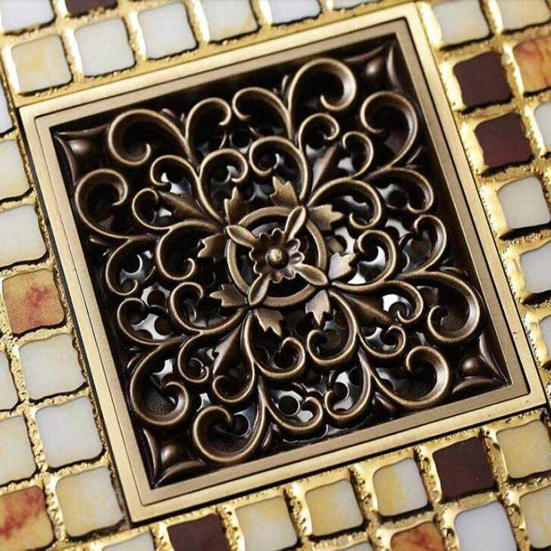 4Pcs 4 Square Antique Brass Floor Drain Bathroom Shower Insert Stopper Grates Waste