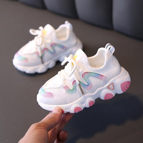 Giày Mềm Lưới Thoáng Khí Có Dây Buộc Dễ Thương Hàn Quốc Cho Trẻ Sơ Sinh Trẻ Em Bé Gái Sneakers Miễn Phí Mua Sắm COD giá rẻ