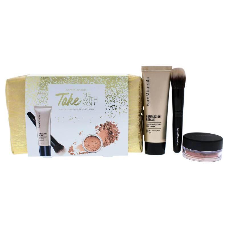 Buy bareMinerals Take Me With You - 07 Tan - 4 Pc Set 0.03oz Blush - Golden Gate, 0.68oz Complexion Rescue Tinted Hidrating Gel Cream SPF 30 - 07 Tan, Smoothing Face Brush, Makeup Bag Singapore