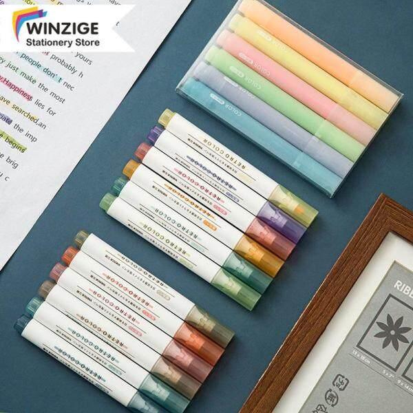 Bộ Bút Dạ Quang Winzige 6 Màu, Bút Đánh Dấu Morandi, Macaron Highlighter