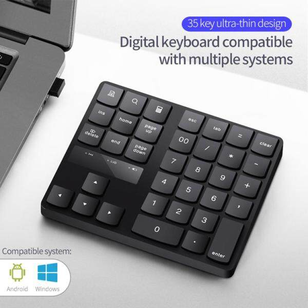 Wireless Number Pad Rechargeable Keypad for Laptop PC