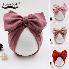 I LOVE DADDY&MUMMY Mũ vải Turban thiết kế thắt nơ màu sắc tươi sáng đáng yêu vừa che nắng vừa thời trang cho bé gái