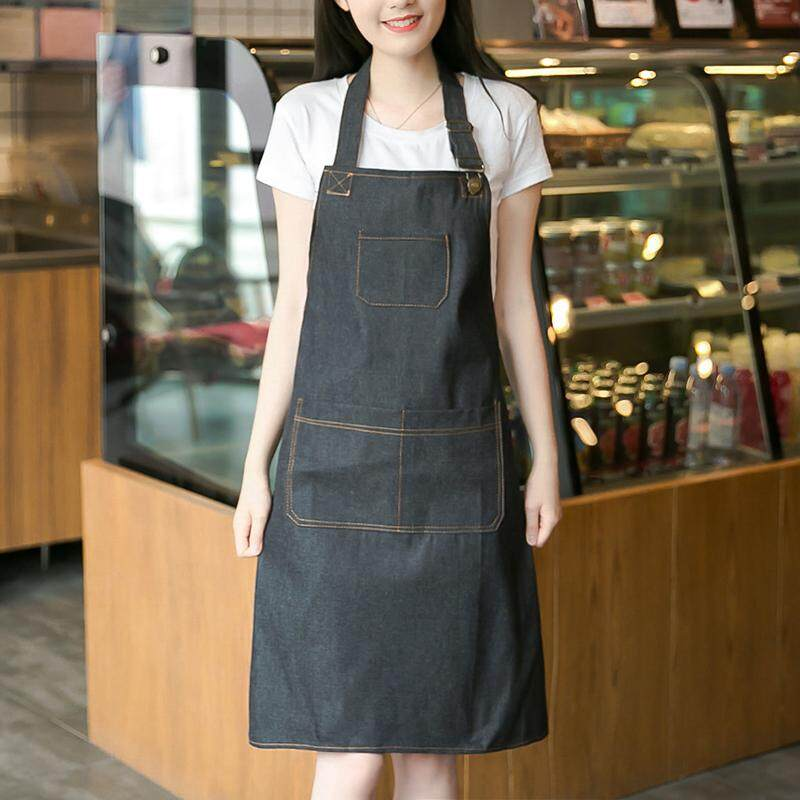 Comforhome Denim Canvas Pocket Apron Adjustable Baking Chefs Kitchen Coffee Cooking BBQ