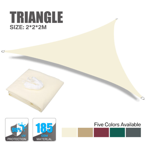 Sun Shade Sail Canopy Water Resistant Home Garden Lawn Patio Yard Outdoor Living Triangle Rectangle Square 2*2*2m/3*3*3m/3.6*3.6*3.6m/5*5*5m/3*2m/4*3m/3*3m/3.6*3.6m Well Packaged (9 Colors)