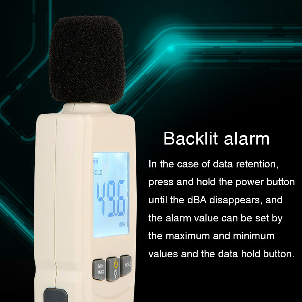 30-130dB Industrial Decibel LCD Display Office Digital Data Hold Noise Measurement Portable Home Sound Level Meter