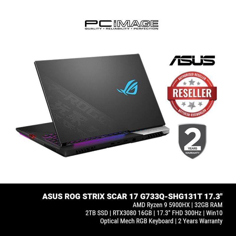 ASUS ROG STRIX SCAR 17 (G733Q-SHG131T)/ R9 5900HX/ 32GB RAM/ 1TB SSD*2/ RTX 3080/ 300Hz 3ms/ FHD/ 2 Yrs Warranty Malaysia