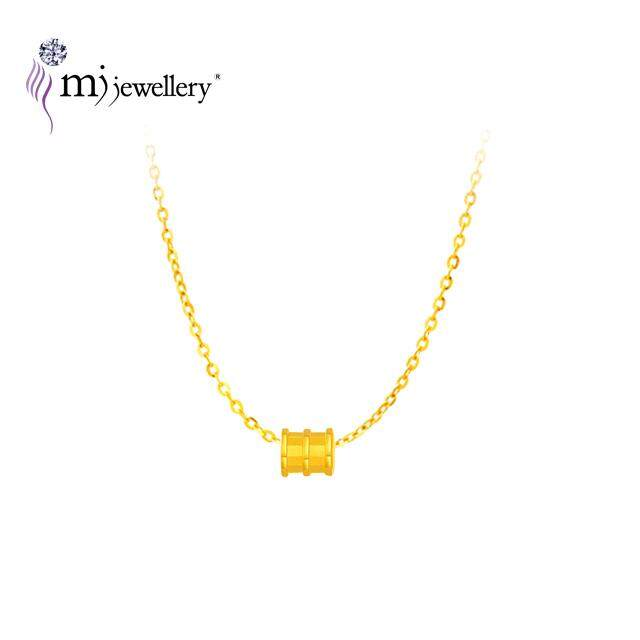 MJ Jewellery 999 9 Pure Gold Mini Tube Ring With 375 Gold Necklace Set