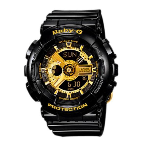 (2 Years Warranty) Original BABY G Womens Watch BA-110-1A BLACK GOLD Malaysia
