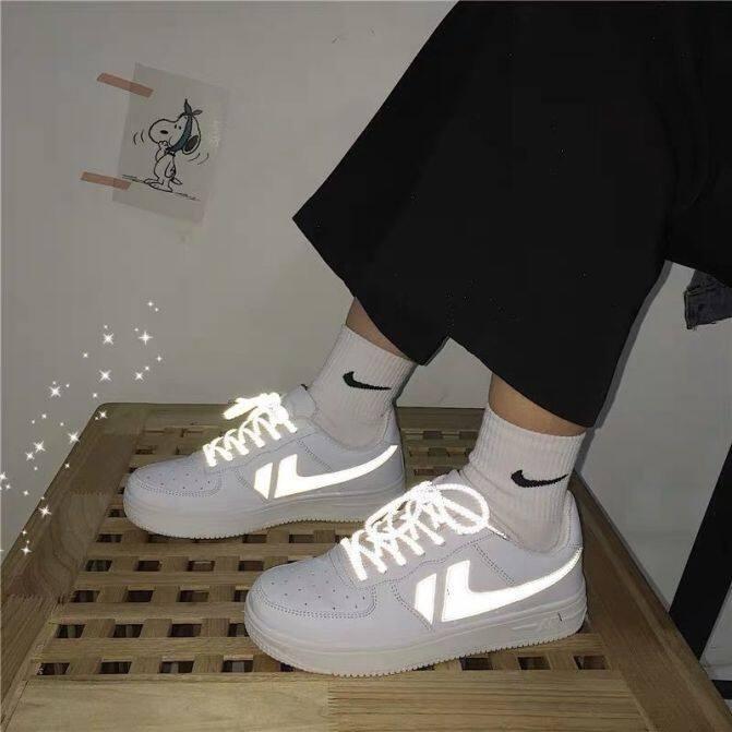 Giày Air Force One Aj Cho Nữ, Giày Thể Thao Cổ Thấp Phản Quang Màu Trắng Size35-40 Nhật Bản giá rẻ