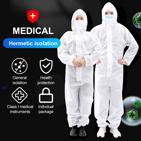 Cofoe Disposable Hoodted Coverall Isolate Suit Elastic Cuffs Anti-epidemic Antibacterial Dust-proof Cloth Unisex