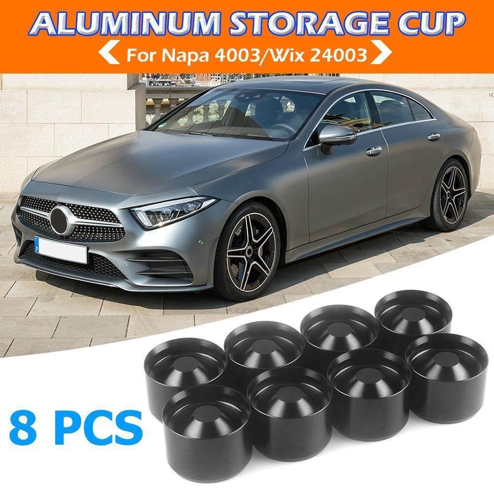 8pcs Aluminum Storage Cups for NAPA 4003 WIX 24003 Car Fuel Filter (Black)
