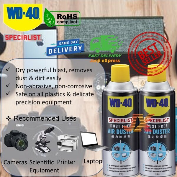 Twin Pack WD-40 Specialist Dust Free Air Duster WD40 Dust Remover Compressed Air Blower Spray 200G Keyboard Cleaner DSLR Camera Lens Cleaning Kits