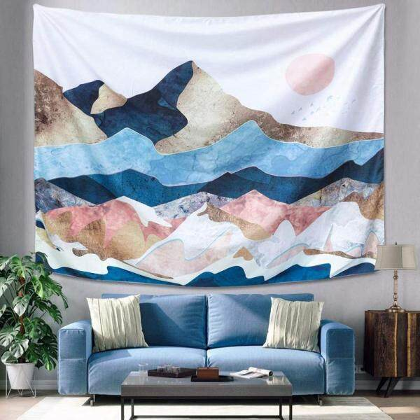 Mountain Sunset Tapestry, Color Mountain Wall Hanging Tapestry, Sunset Nature Landscape Art Wall Hanging, Mural for Bedroom, Living Room, Dorm, Decoration (51.2 inch x 59.1 inch)