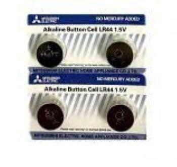 Mitsubishi Alkaline LR44 1.5V Button Battery (4 Pieces) ED: Mar 2021