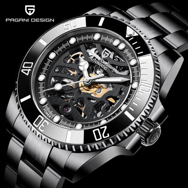 PAGANI DESIGN Fashion Casual Skeleton Mechanical Watch Men Sapphire Glass Automatic Military Luminous Hands Waterproof Classic Business Mens Watches Malaysia